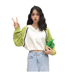 New Spring Autumn Long sleeve Pullovers Casual Style Sweatshirts Hot Patchwork Women's Clothing Crop Top Hooded Hoodies Fashion Loose