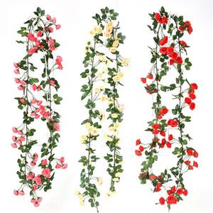 183cm / 71in محاكاة الحرير روز الزفاف ديكورات الزهور الاصطناعية قوس ديكور روز فاين الأخضر يترك جارلاند الجدار