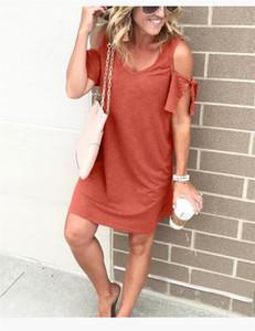 Womens Pure Color Panelled Kleider Schulter-Hülsen-Kleid Fashion V-Ausschnitt Womens Casual über Knie-Kleid