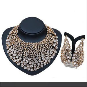 Earrings Necklace 2-Piece Jewelry Set 2018 Brand New Quality Luxury Glass Rhinestone 18K Gold Plated Alloy Party Jewelry Set Wholesale JS589