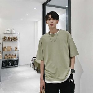 t shirt men cotton Fake Two-Piece Stitching harajuku T-shirt Men's 2020 Summer New Loose Casual Half-Sleeve Solid Color Top