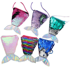 Girls Mermaid Sequin Coin Purse Cute Crossbody Bags Sequins Sling Money Change Purse Card Holder Kids Wallet Mermaid Pouch Messager Bag Gift