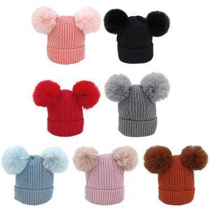 겨울 따뜻한 소년 소녀 Beanie 모자 가을 어린이 니트 모자 솔리드 컬러 어린이 공 모자 유아 아기 Beanies 모자 Access