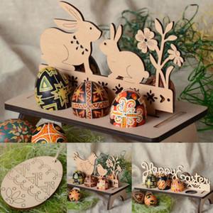Hot madeira creativo Easter Egg Prateleiras Egg Fique rack padrão de coelhinho da Páscoa DIY Decoração