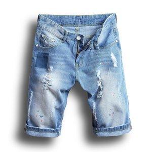 Fashion Mens Denim Shorts Summer Regular Casual Knee Length Short Bermuda Hole Rippe Jeans Shorts Plus Size 28-38