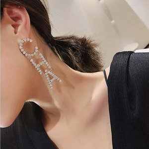 Joyería cuelga los pendientes del Rhinestone cristalino lleno Carta CHA ESN gota para las mujeres La Declaración de moda Pendientes Accesorios