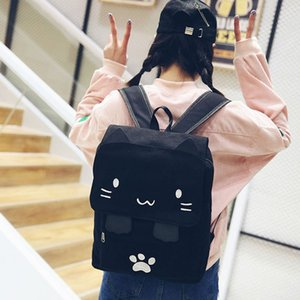 JHD-fashion Cute Cat Embroidery Canvas Student bag Cartoons Women Backpack Leisure School bag