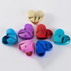 25 ml Cam Parfüm Şişesi Atomizer Sprey Doldurulabilir Kalp Tasarım Vida Boyun Pompa Püskürtücü Kalın Boş Kozmetik Şişeler Konteyner 7 renkler