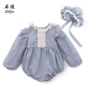 My Little One 2019 Verano 2019 Estilo de encaje de lino Baby Girl Romper Con Bonete Set Y19061201