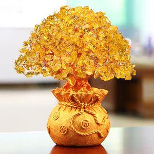 LUCKY Fortune Wealth chinesischen goldene Kristallglücksgeld Fortune-Baum Home Office Dekoration besten Geschenke Tabletop Ornament Crafts