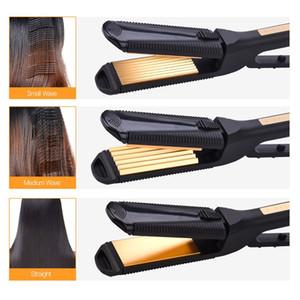 3 في 1 الكهربائية مستقيم الشعر المكشكش المموج حليقة لوحة الشعر التيتانيوم الحديد المسطح الشباك الذرة موجة الشعر المموج
