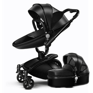Модная кожаная детская коляска комплект с яйцевидным сиденьем и спальной люлькой детские багги амортизаторы детская тележка тележка