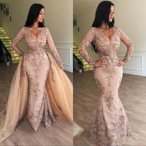 2020 Nova Pescoço V Lace Mermaid Prom Vestidos mangas compridas Tulle Applique até o chão formal do partido de vestidos de noite, com destacável saia BC0179