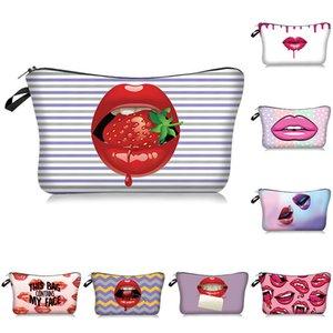 Red Lip 3D-Drucken-Verfassungs-Beutel mit Multicolor Pattern Cute Organizer Tasche Pouchs Kosmetikerin für Reisen Frauen Cosmetic Bag