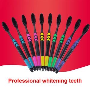 10 pcs familia Set Cepillo de dientes carbón de bambú suave cuidado de los adultos gomas cuidado del cabello fino hogar unisex Dientes Cepillo de Limpieza C18112601