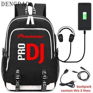 DENGPAO Pioneer DJ PRO portátil mochila negra USB mochilas escolares para adolescentes niños niñas niño mochila de moda mochila infantil