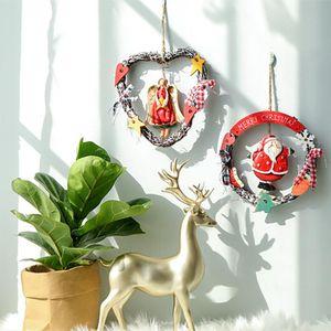 Décoration de Noël Couronne Pendentif Ornement ange en bois vieux bonhomme de neige pour la maison du Père Noël Merry Christmas Party Décorations 40