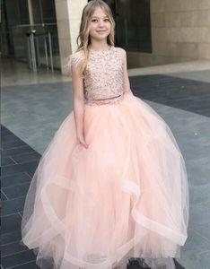 Pageant Vestidos Q70 Flor Africano lantejoulas rosa Modern Girl Dresses Two Pieces Feather Tulle A menina vestidos de casamento da menina baratos