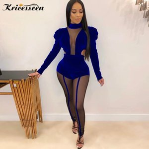 Kricesseen Sexy Women Velvet Mesh Patchwork Skinny Jumpsuit Ladies Puff Sleeve Party Club Overalls One Piece Rompers Jumpsuit T200528