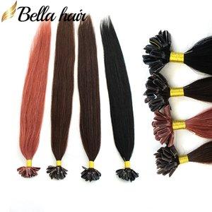 """U-Tipi Saç Uzantıları prebonded Hint İnsan Virgin Saç Atkı İpeksi Düz # 1 # 2 # 33 # 4 1g / iplikçik, 25g / set 18 """"-26"""" Bella Saç Ücretsiz Kargo"""