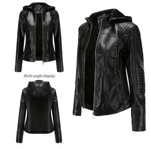 2020 New winter Womens hooded thick fleece Pu Leather Jacket Zipper short Lining Jacket Slim warm outwear Coat
