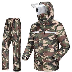 Camouflage Hiking Motorcycle Raincoat Mens Rain Jacket Outdoor Waterproof Rain Coat Suit Casaco Masculino Regenjas R5C145 T200616