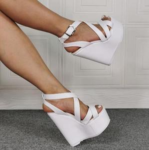 Bandas Dipsloot niñas de la Cruz Blanca de la hebilla de la cuña sandalias ocasionales del alto talón sandalias de plataforma zapatos de fiesta 100% Real Fotos