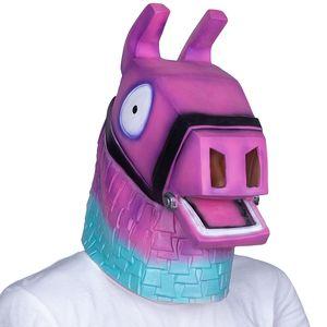 Máscara Hot Filme rosa Llama Cabeça do partido de Halloween Costume Adult Latex Mask cavalo animal frete grátis Y200103