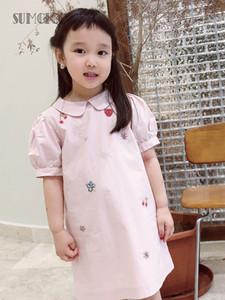 Sumcico 2020 Son Kız Pamuk Boncuk Pullu İşlemeli Peter Pan Yaka Elbise Küçük Kız Sevimli Stil Fener Kollu Elbise T200229