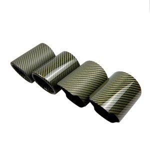 1PCS Car Universal Tubo de Escape verde Fibra de Carbono Tampa Exhaust Muffler tubo de manga Exhaust Tip Caso Acessórios