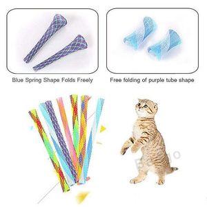 개폐식 고양이 티저 재미 고양이 스틱 고양이 장난감 고양이 티저 지팡이 고양이 다채로운 봄 튜브 애완 동물 액션 대화 형 완구 안절부절 장난감 BC BH2863