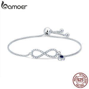 Bamoer Trendy 925 Sterling Silver Luminoso Cz Infinity Pulseras Para Las Mujeres Pulsera de Moda Fabricación de Joyas de Regalo Scb087 T190702