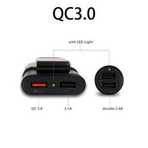 빠른 QC3.0의 USB 차량용 충전기 연장 코드 케이블 뒤로 좌석 요금 가진 4 개의 USB 포트는 이동 전화 대기 패션 클립