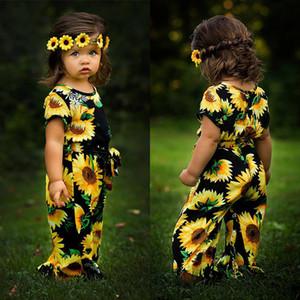 Bebek kız ayçiçeği romper Yenidoğan bebek Çiçek baskı Tulumlar 2019 yaz moda Butik çocuk Giyim