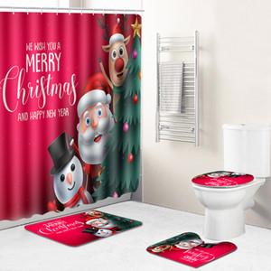 عيد الميلاد حمام حصيرة مجموعة عدم الانزلاق حصيرة حمام دش ماء الستار الركيزة البساط غطاء غطاء المرحاض حصيرة اكسسوارات الحمام
