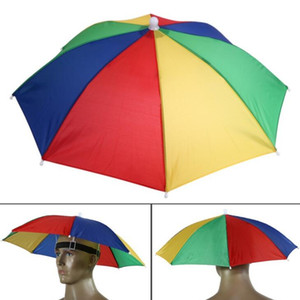 Portable Usefull Umbrella Hat Sun Shade Waterproof Outdoor Camping Hiking Fishing Festivals Parasol Foldable Brolly Cap 55cm LX1990