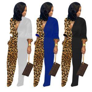 2019 Autumn Winter Women 표범 Print Patchwork Jumpsuits 긴 Sleeve Wide Leg Button Jumpsuit Sexy Club 밤 Straight 롬퍼 Playsuit