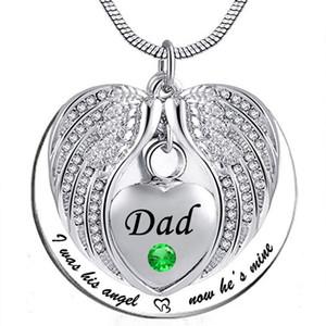 """Unisex Angel Wing Birthstone Memorial Keepsake Ceneri Urn Collana con ciondolo """"ero il suo angolo, ora è mio"""" - Papà"""
