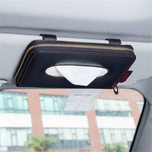 Autoserviettenhalter hängend Tissue Box Auto Sonnenschutz Aufbewahrungsboxen aus Mikrofaser Leder Sonnenblende Seidenpapier-Halter