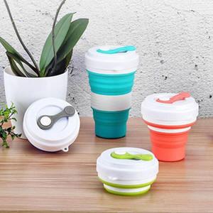 Caneca Viagem Folding Silicone Cup 550 mL Grau portátil ao ar livre Leite xícaras de água