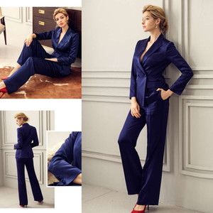 Navy Blue 2020 Mother Of The Bride Pant Suits Women Business Suits Formal Outfit For Weddings Tuxedos Blazer (Jacket+Pants)