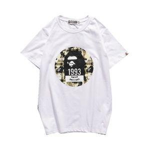 19ssB 여름 원숭이 티셔츠 새로운 일본어 잉어 프린트 T 셔츠 오프 남성의 레저 라운드 넥 반팔 화이트 저스틴 비버 (Justin Bieber) 셔츠 저렴한 판매