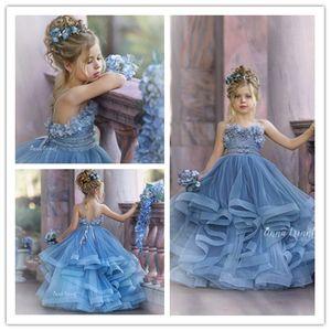 2020 Flower Blue Haze ragazza abiti da sposa in pizzo per 3D floreale appliquéd Little Girls Pageant Dress Tiered Gonne vestidos de desfile