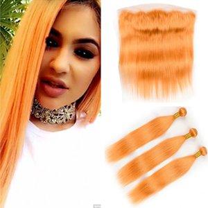 Brésil Orange pur cheveux humains 3Bundles droit avec Frontal 4Pcs Lot de couleur orange droite Weave Trames avec Dentelle Frontal 13x4