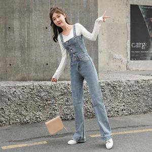 Женские комбинезоны Rompsers Джинсовые женские комбинезоны карманные джинсы свободные высокие талии комбинезон прямых брюк подвесной Femme W369