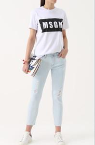 4 لون الجملة عالية الجودة رجل / إمرأة MSGM T قميص الصيف زوجين العلامة التجارية رسالة مطبوعة بلايز المحملة عارضة القطن قصير الأكمام التي شيرت O-الرقبة