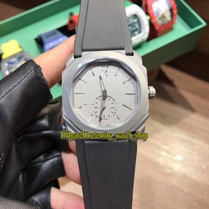 Alta calidad Nuevo Octo Finissimo 102559 Gray Dial Japón VK Movimiento de cuarzo Reloj para hombre 316L Caja de acero inoxidable Caja de goma Relojes deportivos