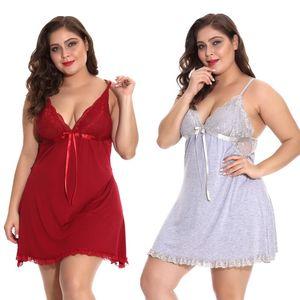 Donne Floral Lace Coppe Jersey Babydoll con ciondola il nastro di raso sexy Big Lady Chemise Dress Plus Size 1X-4X lingerie Panty Set multicolore