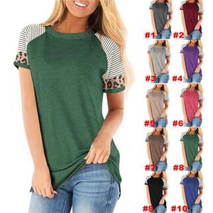 Mulheres Striped Leopard retalhos T-shirt da luva do pescoço de grupo Curto Primavera camisetas senhoras do verão do T Pullover Top Sports Casual D21707 Blusa
