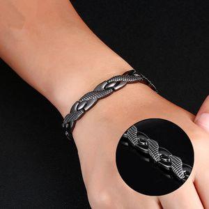 Titanium Aço terapia magnética Bracelet Men Moda de aço inoxidável única linha ímã do dragão Grain Saúde Bracelet LJT-TTA1865